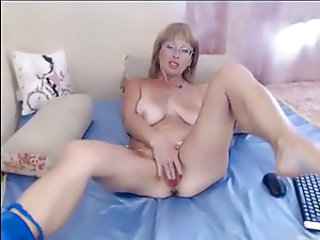 Amazing Glasses Masturbating MILF Natural SaggyTits Solo