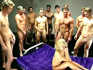 Hard gangbang and bukkake for blonde