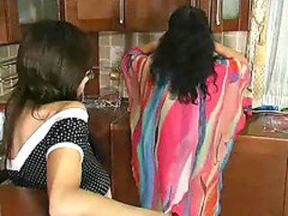 BBW granny and teen lesbos in a kitchen