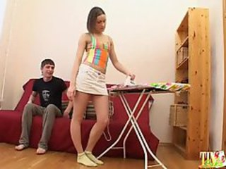 Tiny tits sister and her brother with big cock