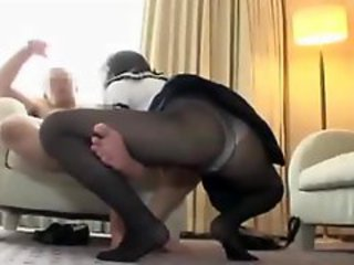 Schoolgirl In Pantyhose Giving Blowjob For Guy..