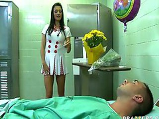 Sexy Nurse Aletta, who craves a cock in her ass, teases sleeping patient