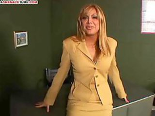 Busty tranny and a guy fuck each other in turn