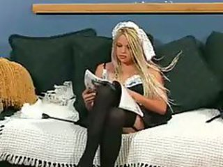 Sexy Maid Velvet Rose Gets All Holes Filled