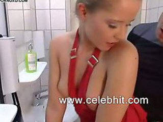 Nasty teen girl analed in a toilet