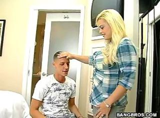 Blonde gives great handjob and tit fuck