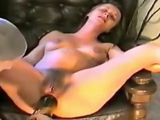 Pregnant girl takes bottle in her ass
