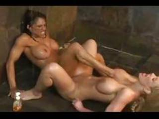 2 women- wrestling, showering & tribbing