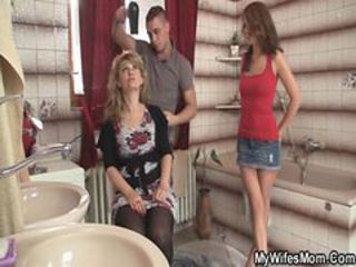 Bathroom Family MILF Skirt Threesome