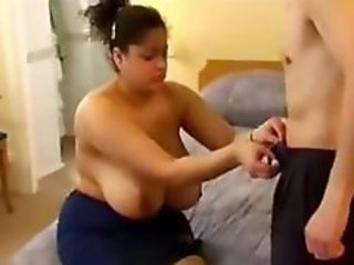 BBW with huge tits sucks and fucks her boyfriends hard cock