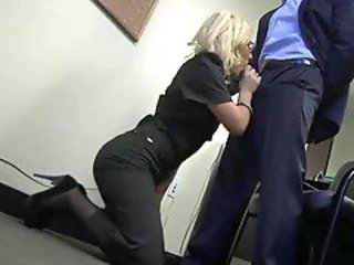 Babe Blonde Blowjob Clothed Glasses Office Secretary Skirt