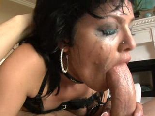 Super sucker Sadie West deep throats a massive thick shaft till she gags