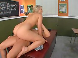 Sexy student Alexis Texas throats and fucks her teacher