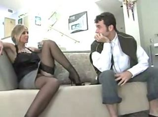 Titty milf in stockings was fucked hard on the sofa.