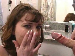 Amateur facial in bathroom