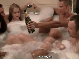 Corporate group orgy in a sauna 3