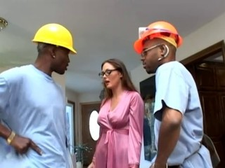 Glasses Interracial Threesome Uniform