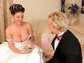 Bride babe Claire Dames is rutted on her wedding day