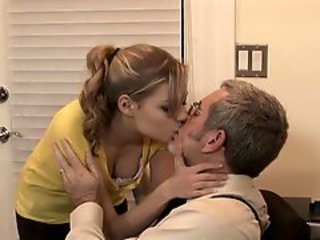 Babysitter Nicole Ray is spooned by an older dude