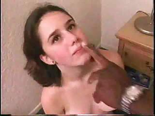 Young And Very Tasty Brunette Teenie Sucks Her First Chocolate Cream-stick