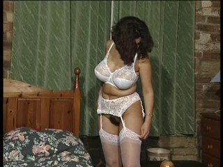 Big Tits British Brunette Lingerie Stockings