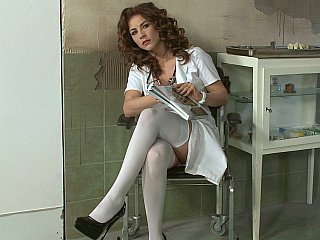 Brunette Doctor European Prison Stockings Uniform