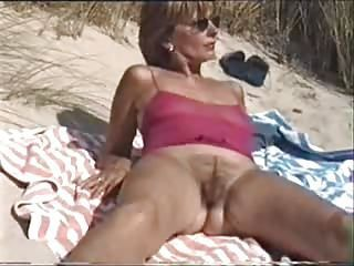 Beach Hairy Mature Outdoor Public