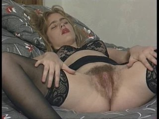 Blonde British Hairy Lingerie Stockings
