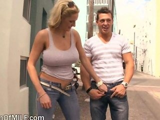 Big Tits Blonde Jeans MILF Outdoor