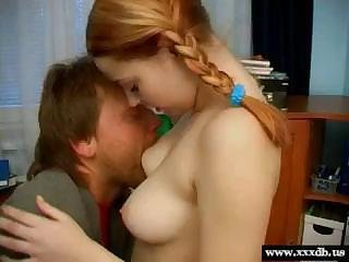 Wonderful red-haired teen with firm breast adores tender lovemaking