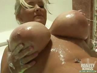 Big Tits Blonde MILF Pornstar Showers