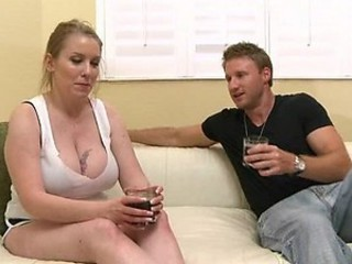 Blonde BBW Slut Gets Her Big Tits Splashed With Jizz