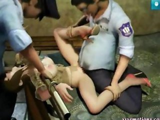 Tied up animated babe gets drilled
