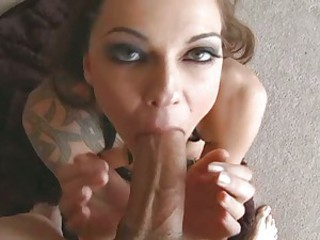 Pretty slut Chayse Evans stuffs her mouth with a thick shaft and enjoys it