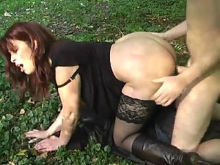 Ass Brunette Clothed Doggystyle Hardcore MILF Outdoor Stockings