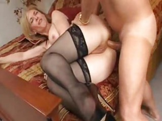 Lusty milf in great stockings is ass fucked