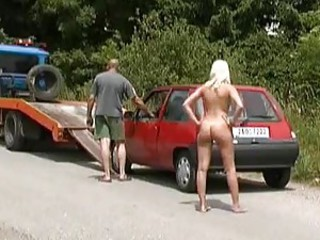 Naked girl needs help with her broken car