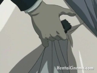 Insatiable anime Temptress getting succulent muff fingered and dildoed doggy position