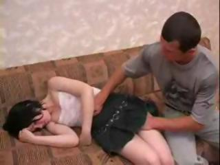 Drunk teen brunette force abuse by elder brother