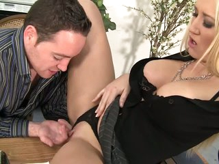 Milf boss Alana Evans spreads for lucky guy