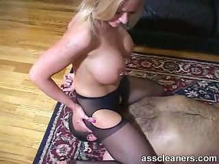 Lucky man got his tongue inside hot mistress\' ass hole