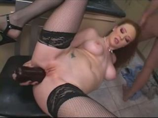Busty brunette hot ramming in the kitchen