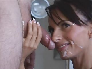 Stunning in white stockings Catalina Cruz milks cock all over pretty face