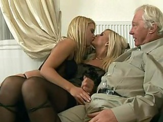 Old Man Has An Amazing Threesome With Hot Blonde Babes