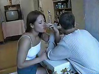 Forced kitchen - drunk amateur college girl abused after glass of vodka