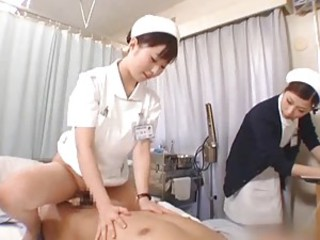 Japanese nurses suck and fuck with a patient