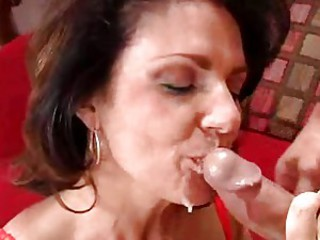 Cock loving Deauxma receives a hot load of cock sauce on her filthy warm mouth