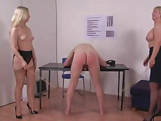 Two Blonde Dommes Spank and Cane Office Guy