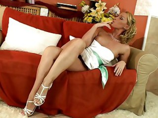 Kathia Nobili hot babe wearing white sexy dress