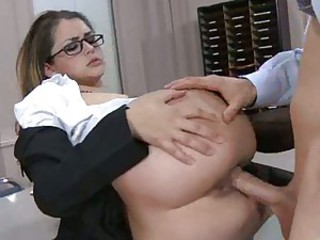 Amazing Ass Clothed Glasses Hardcore Office